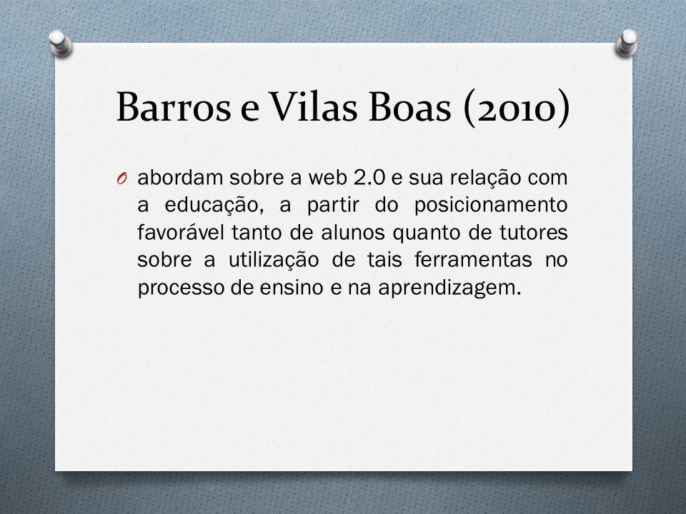 Barros e Vilas Boas (2010) O abordam sobre a web 2.0 e sua relação com a educação, a partir do posicionamento favorável tanto de alunos quanto de tutores sobre a utilização de tais ferramentas no processo de ensino e na aprendizagem.