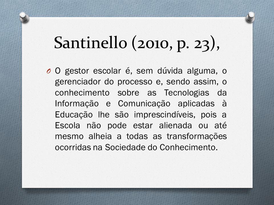 Santinello (2010, p. 23), O O gestor escolar é, sem dúvida alguma, o gerenciador do processo e, sendo assim, o conhecimento sobre as Tecnologias da In