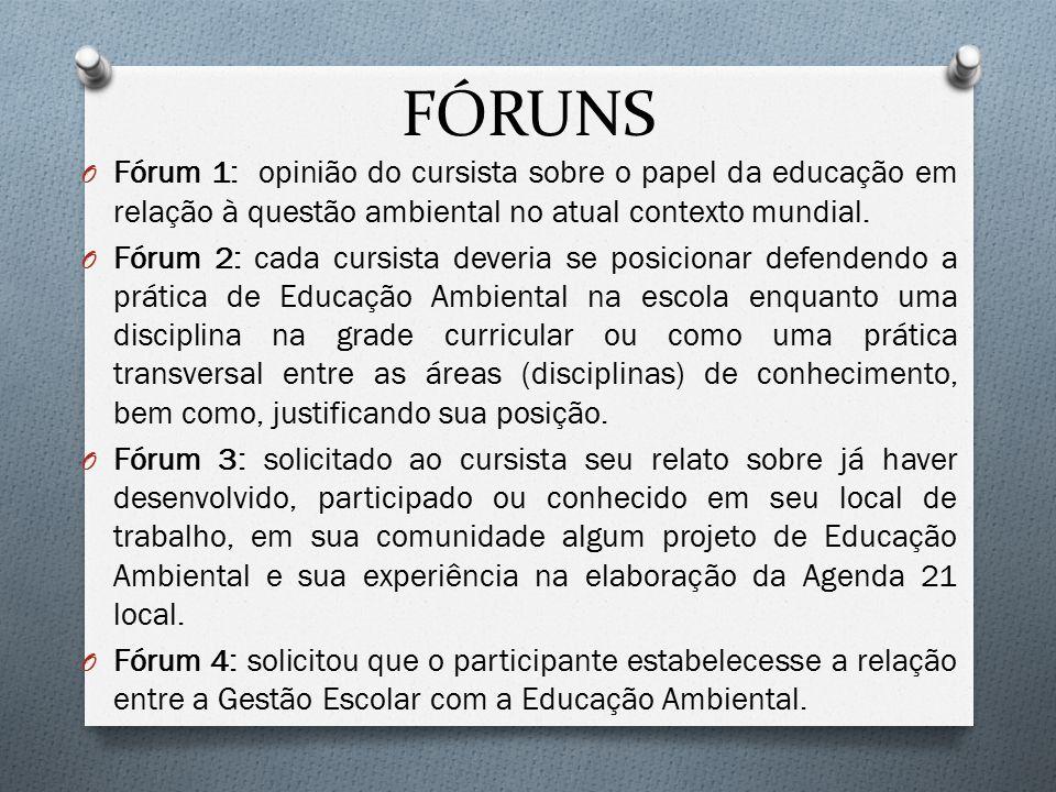 FÓRUNS O Fórum 1: opinião do cursista sobre o papel da educação em relação à questão ambiental no atual contexto mundial. O Fórum 2: cada cursista dev