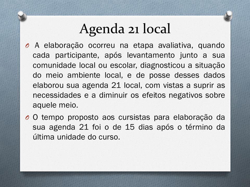 Agenda 21 local O A elaboração ocorreu na etapa avaliativa, quando cada participante, após levantamento junto a sua comunidade local ou escolar, diagn