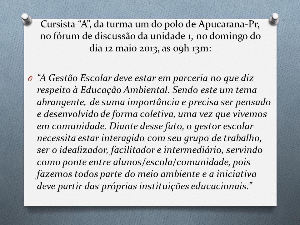 """Cursista """"A"""", da turma um do polo de Apucarana-Pr, no fórum de discussão da unidade 1, no domingo do dia 12 maio 2013, as 09h 13m: O """"A Gestão Escolar"""