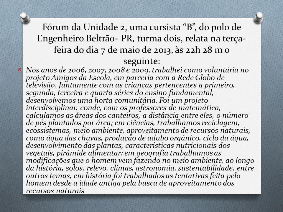 Fórum da Unidade 2, uma cursista B , do polo de Engenheiro Beltrão- PR, turma dois, relata na terça- feira do dia 7 de maio de 2013, às 22h 28 m o seguinte: O Nos anos de 2006, 2007, 2008 e 2009, trabalhei como voluntária no projeto Amigos da Escola, em parceria com a Rede Globo de televisão.