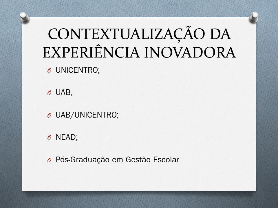 CONTEXTUALIZAÇÃO DA EXPERIÊNCIA INOVADORA O UNICENTRO; O UAB; O UAB/UNICENTRO; O NEAD; O Pós-Graduação em Gestão Escolar.