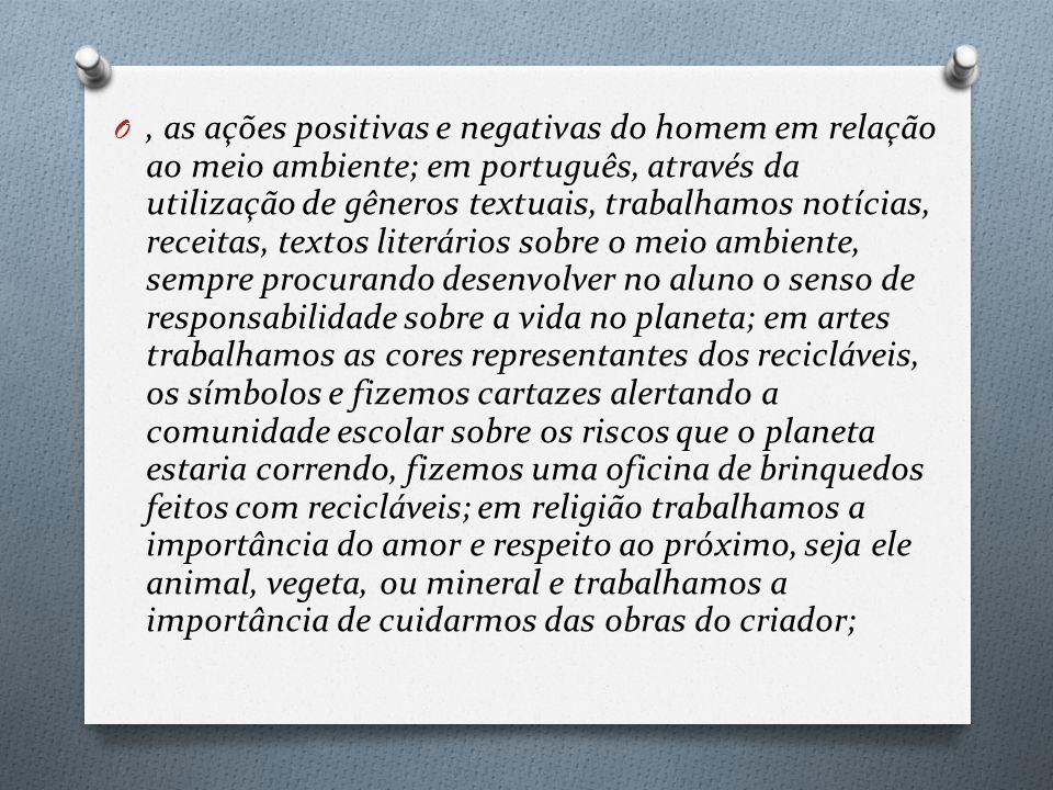 O, as ações positivas e negativas do homem em relação ao meio ambiente; em português, através da utilização de gêneros textuais, trabalhamos notícias,