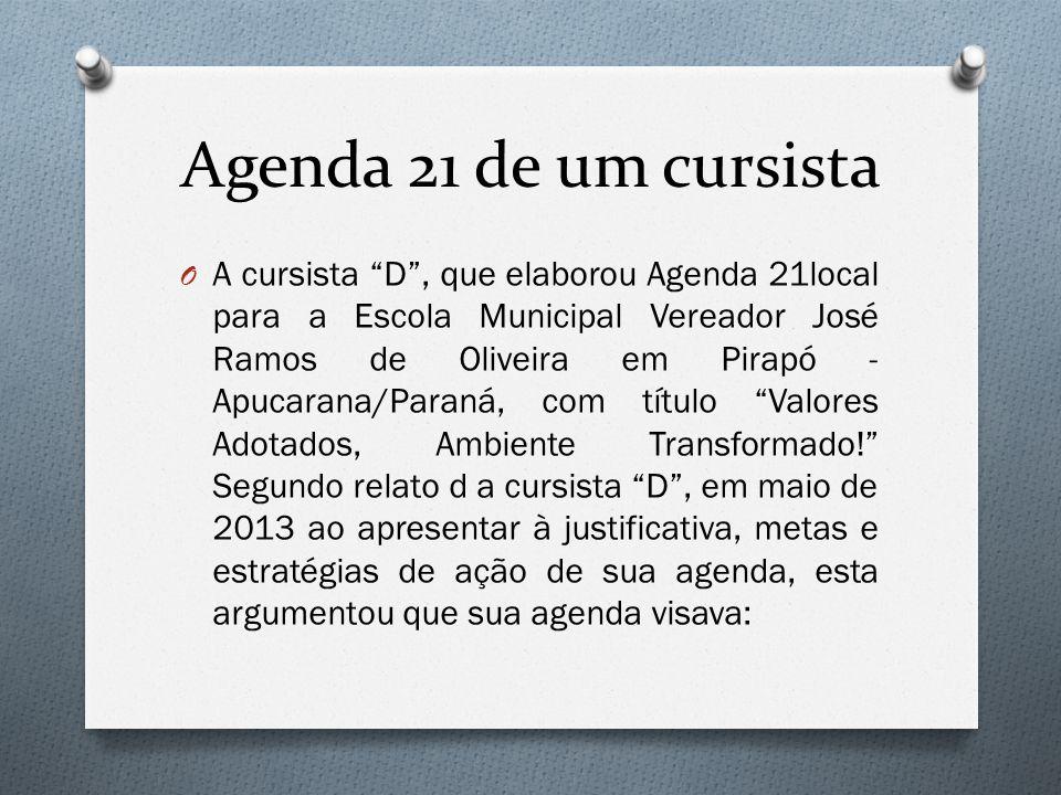"""Agenda 21 de um cursista O A cursista """"D"""", que elaborou Agenda 21local para a Escola Municipal Vereador José Ramos de Oliveira em Pirapó - Apucarana/P"""