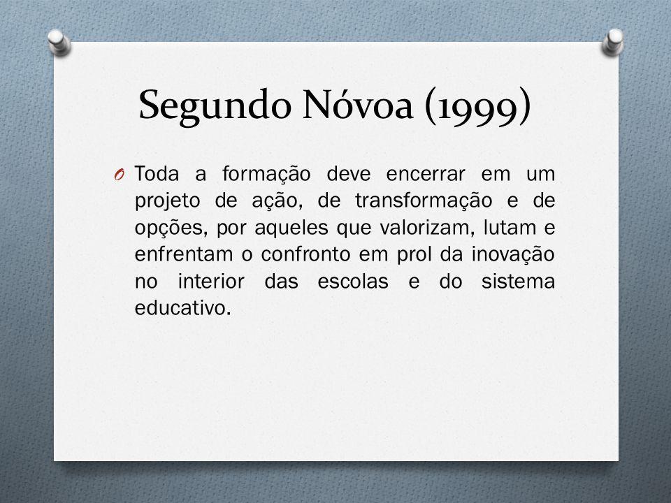 Segundo Nóvoa (1999) O Toda a formação deve encerrar em um projeto de ação, de transformação e de opções, por aqueles que valorizam, lutam e enfrentam