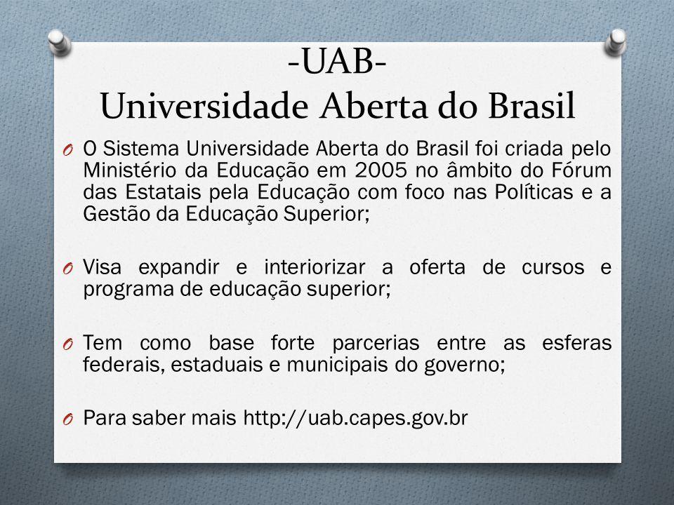 -UAB- Universidade Aberta do Brasil O O Sistema Universidade Aberta do Brasil foi criada pelo Ministério da Educação em 2005 no âmbito do Fórum das Es