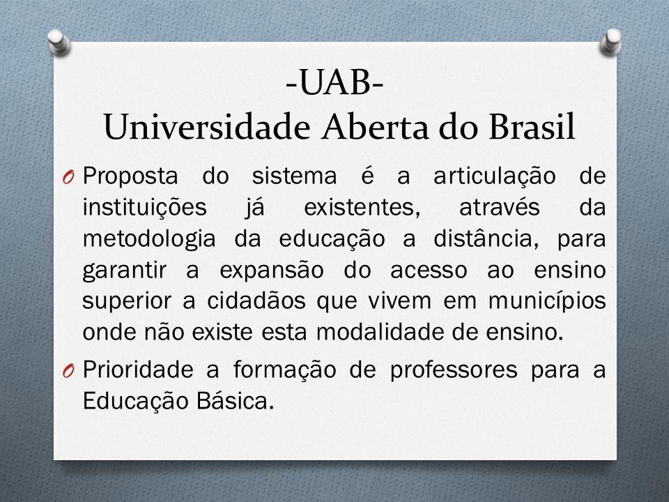 -UAB- Universidade Aberta do Brasil O Proposta do sistema é a articulação de instituições já existentes, através da metodologia da educação a distância, para garantir a expansão do acesso ao ensino superior a cidadãos que vivem em municípios onde não existe esta modalidade de ensino.