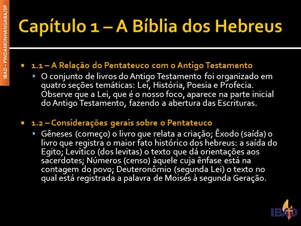 IBAD – PINDAMONHANGABA/SP  1.1 – A Relação do Pentateuco com o Antigo Testamento  O conjunto de livros do Antigo Testamento foi organizado em quatro seções temáticas: Lei, História, Poesia e Profecia.