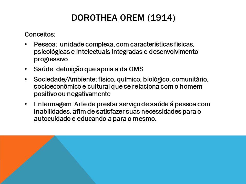 DOROTHEA OREM (1914) Conceitos: Pessoa: unidade complexa, com características físicas, psicológicas e intelectuais integradas e desenvolvimento progre