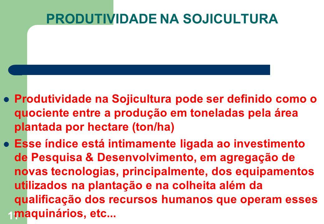 11 Produtividade na Sojicultura pode ser definido como o quociente entre a produção em toneladas pela área plantada por hectare (ton/ha) Esse índice e
