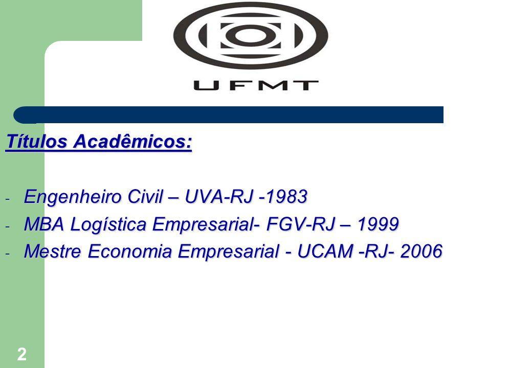 2 Títulos Acadêmicos: - Engenheiro Civil – UVA-RJ -1983 - MBA Logística Empresarial- FGV-RJ – 1999 - Mestre Economia Empresarial - UCAM -RJ- 2006