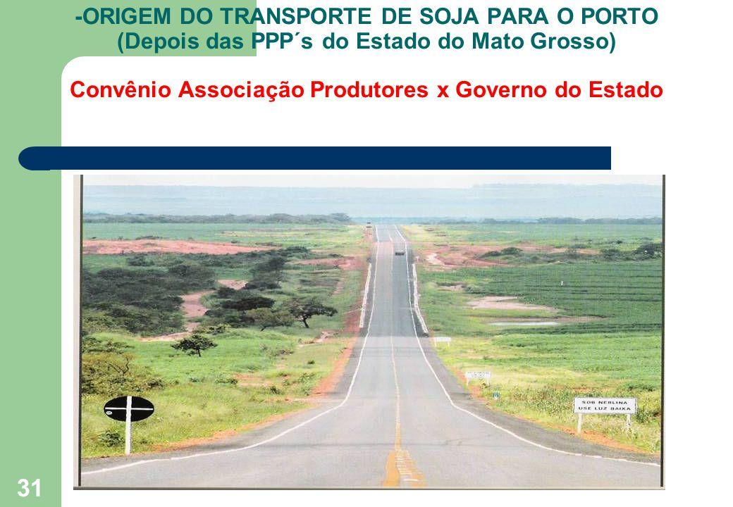 31 -ORIGEM DO TRANSPORTE DE SOJA PARA O PORTO (Depois das PPP´s do Estado do Mato Grosso) Convênio Associação Produtores x Governo do Estado