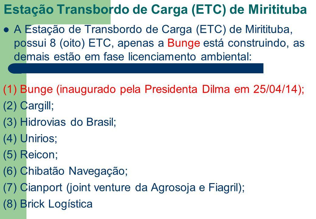 Estação Transbordo de Carga (ETC) de Miritituba A Estação de Transbordo de Carga (ETC) de Miritituba, possui 8 (oito) ETC, apenas a Bunge está constru