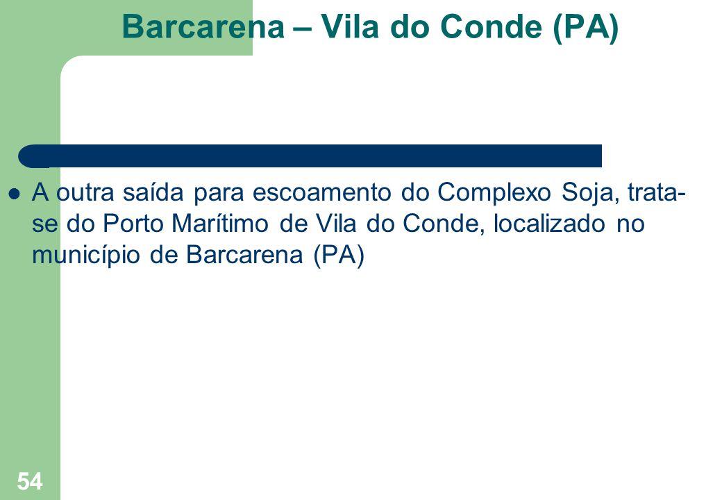 Barcarena – Vila do Conde (PA) A outra saída para escoamento do Complexo Soja, trata- se do Porto Marítimo de Vila do Conde, localizado no município d