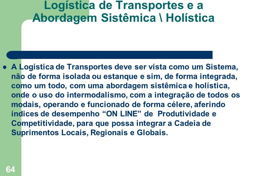 64 Logística de Transportes e a Abordagem Sistêmica \ Holística A Logística de Transportes deve ser vista como um Sistema, não de forma isolada ou est