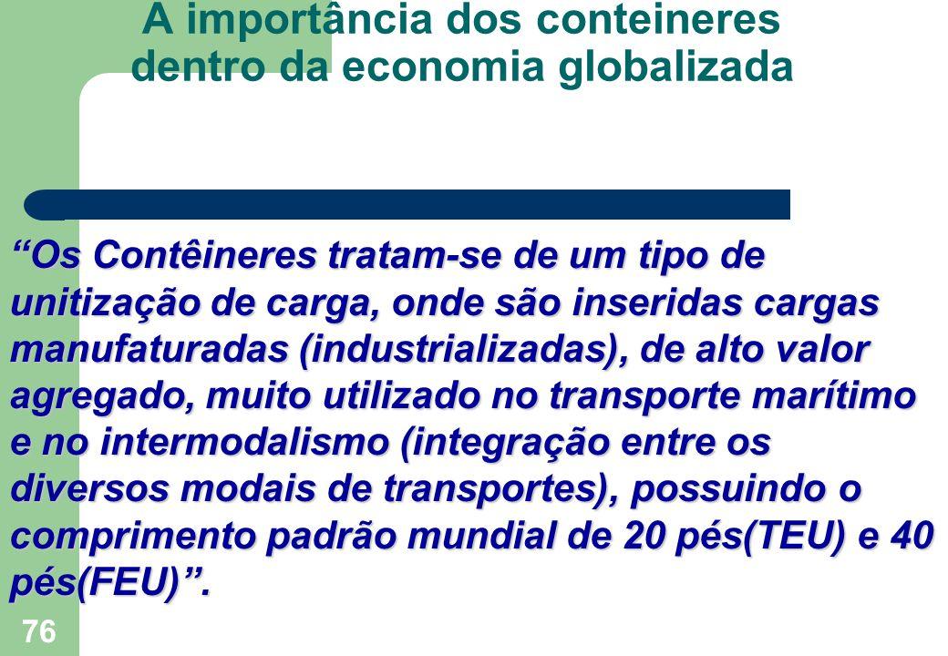"""76 A importância dos conteineres dentro da economia globalizada """"Os Contêineres tratam-se de um tipo de unitização de carga, onde são inseridas cargas"""