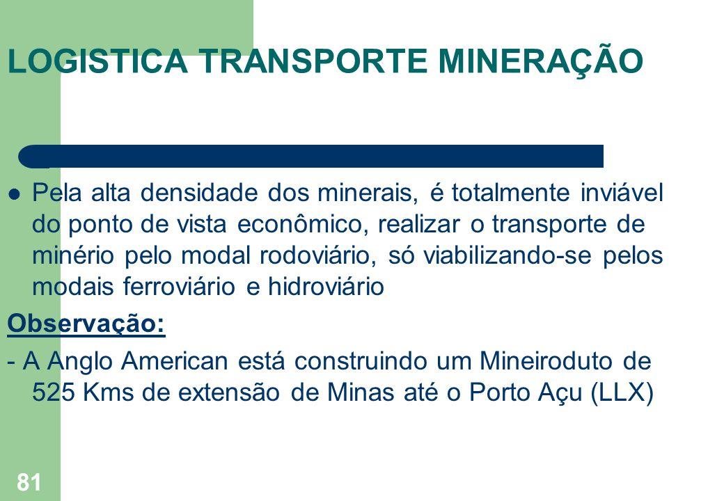 LOGISTICA TRANSPORTE MINERAÇÃO Pela alta densidade dos minerais, é totalmente inviável do ponto de vista econômico, realizar o transporte de minério p