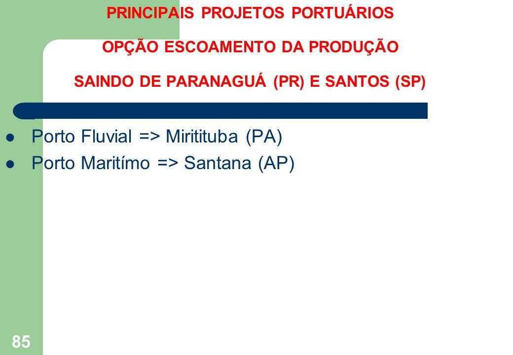 PRINCIPAIS PROJETOS PORTUÁRIOS OPÇÃO ESCOAMENTO DA PRODUÇÃO SAINDO DE PARANAGUÁ (PR) E SANTOS (SP) Porto Fluvial => Miritituba (PA) Porto Maritímo =>