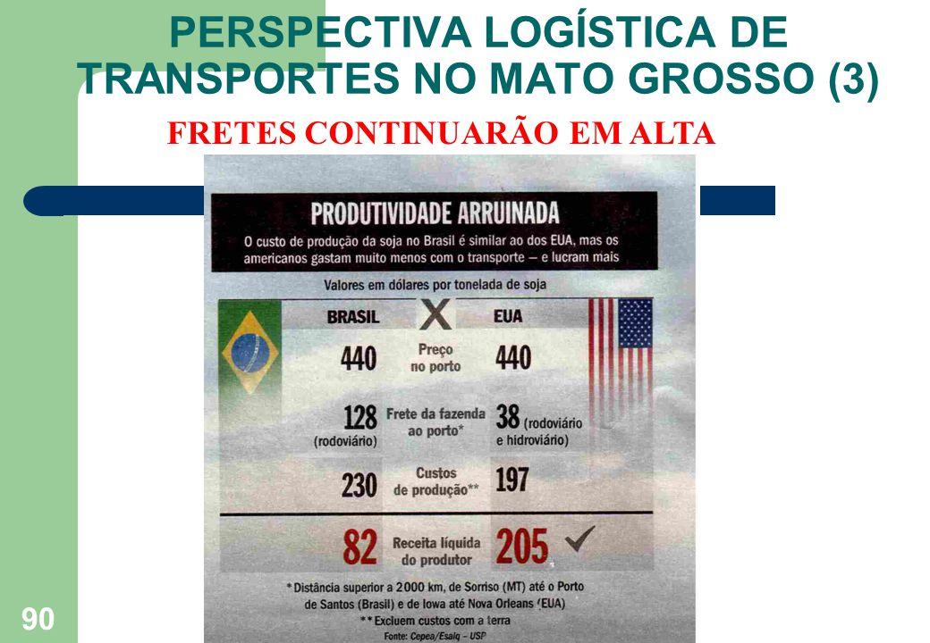 PERSPECTIVA LOGÍSTICA DE TRANSPORTES NO MATO GROSSO (3) 90 FRETES CONTINUARÃO EM ALTA