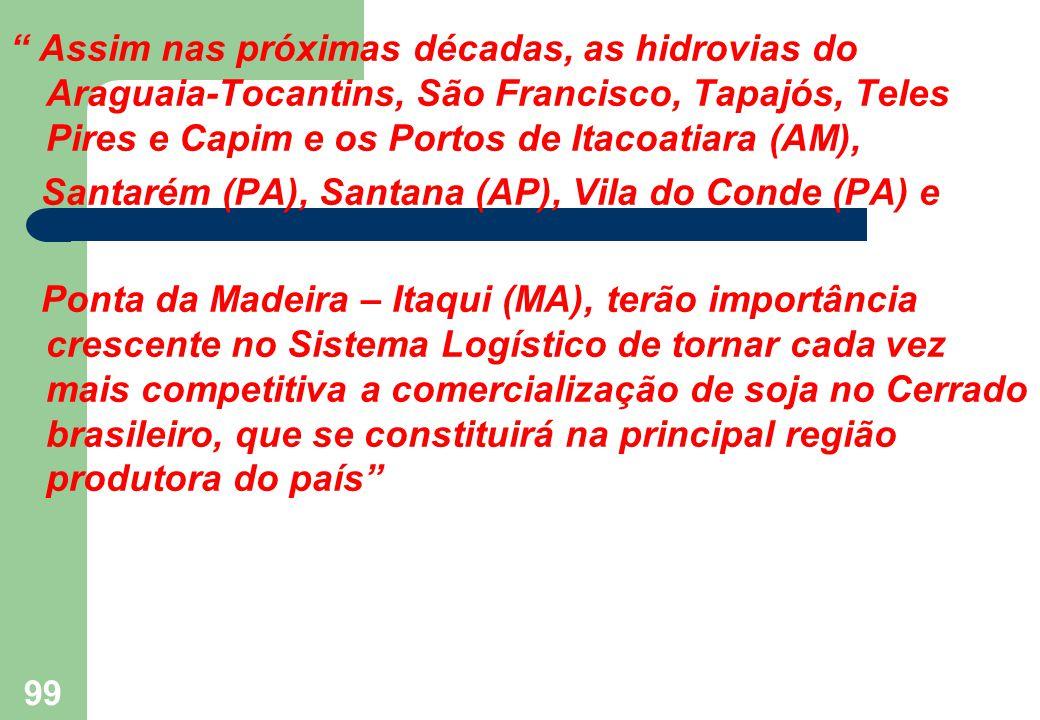 """"""" Assim nas próximas décadas, as hidrovias do Araguaia-Tocantins, São Francisco, Tapajós, Teles Pires e Capim e os Portos de Itacoatiara (AM), Santaré"""