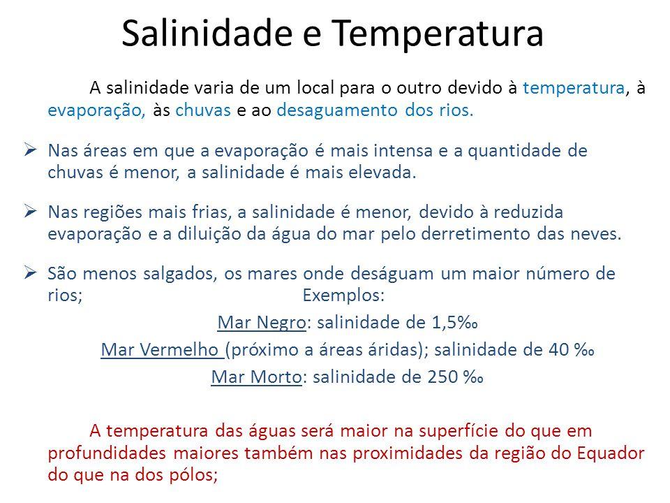 Salinidade e Temperatura A salinidade varia de um local para o outro devido à temperatura, à evaporação, às chuvas e ao desaguamento dos rios.