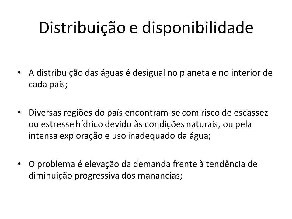 Distribuição e disponibilidade A distribuição das águas é desigual no planeta e no interior de cada país; Diversas regiões do país encontram-se com ri