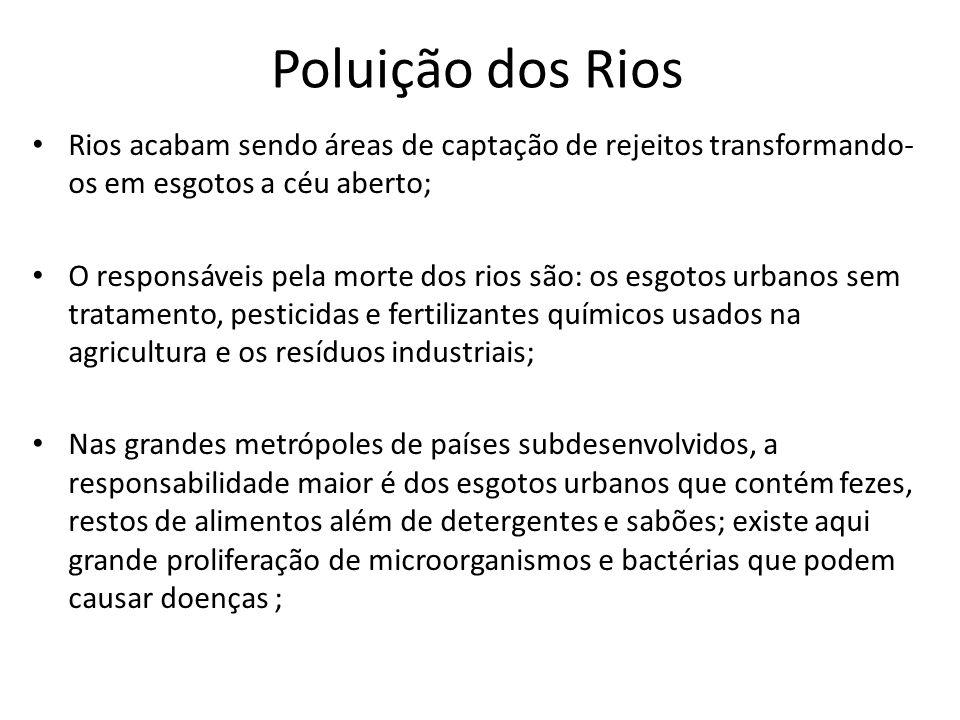 Poluição dos Rios Rios acabam sendo áreas de captação de rejeitos transformando- os em esgotos a céu aberto; O responsáveis pela morte dos rios são: o