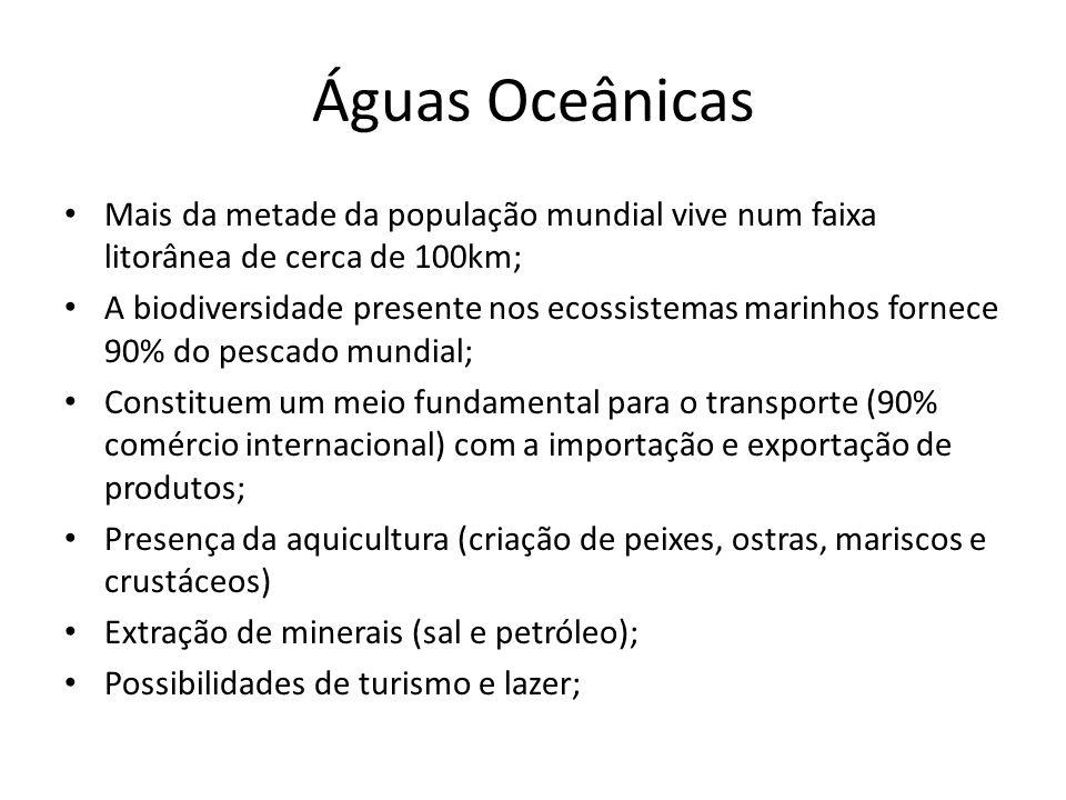Águas Oceânicas Mais da metade da população mundial vive num faixa litorânea de cerca de 100km; A biodiversidade presente nos ecossistemas marinhos fornece 90% do pescado mundial; Constituem um meio fundamental para o transporte (90% comércio internacional) com a importação e exportação de produtos; Presença da aquicultura (criação de peixes, ostras, mariscos e crustáceos) Extração de minerais (sal e petróleo); Possibilidades de turismo e lazer;