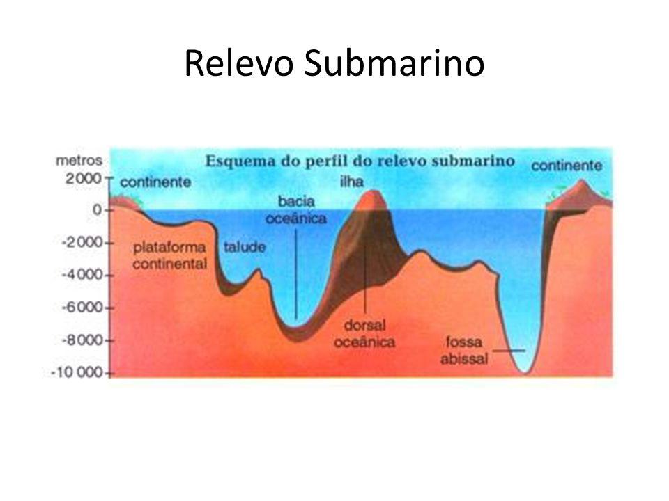 Plataforma continental – com uma profundidade que não ultrapassa 200 metros, é um local de onde se extrai quase todos os recursos marítimos como o pescado, o petróleo e o gás natural; Talude continental - corresponde a inclinação mais aprofundada da plataforma continental, chegando a ter 4 mil metros de profundidade; Bacia oceânica – abrange superfícies que se estende a partir do limite do talude continental até 5 mil metros de profundidade;