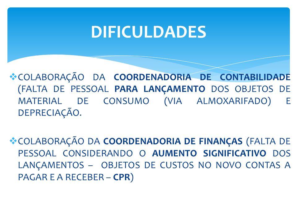  COLABORAÇÃO DA COORDENADORIA DE CONTABILIDADE (FALTA DE PESSOAL PARA LANÇAMENTO DOS OBJETOS DE MATERIAL DE CONSUMO (VIA ALMOXARIFADO) E DEPRECIAÇÃO.