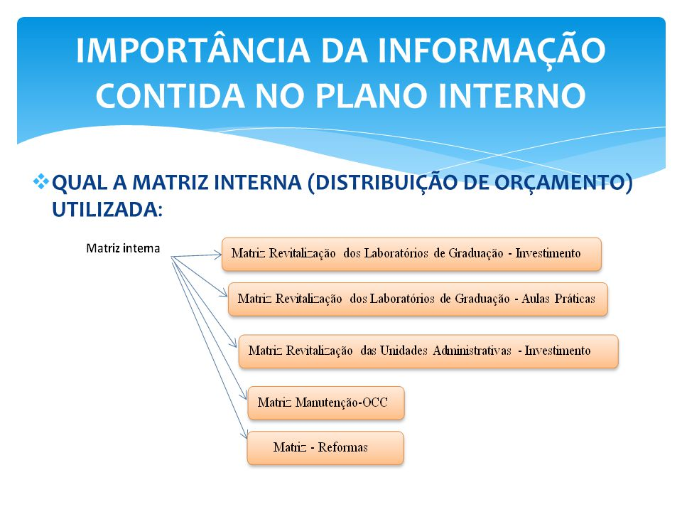  QUAL A MATRIZ INTERNA (DISTRIBUIÇÃO DE ORÇAMENTO) UTILIZADA: IMPORTÂNCIA DA INFORMAÇÃO CONTIDA NO PLANO INTERNO