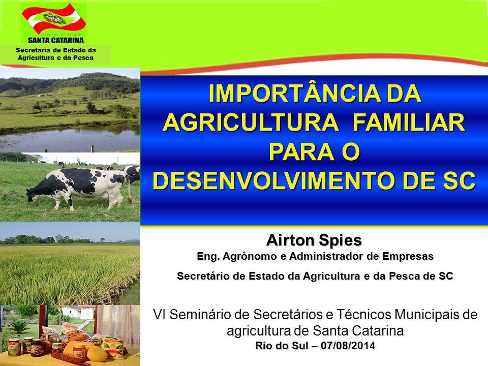 Secretaria de Estado da Agricultura e da Pesca Brasil Santa Catarina: 95 mil km 2 = 1.13% do territorio Br.