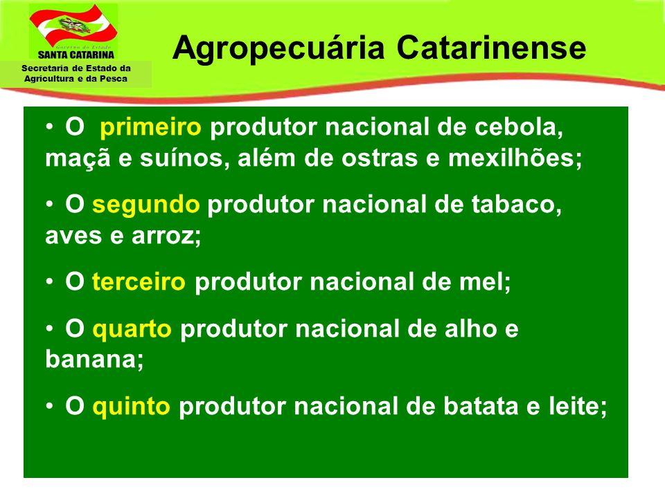 Secretaria de Estado da Agricultura e da Pesca Agropecuária Catarinense O primeiro produtor nacional de cebola, maçã e suínos, além de ostras e mexilh