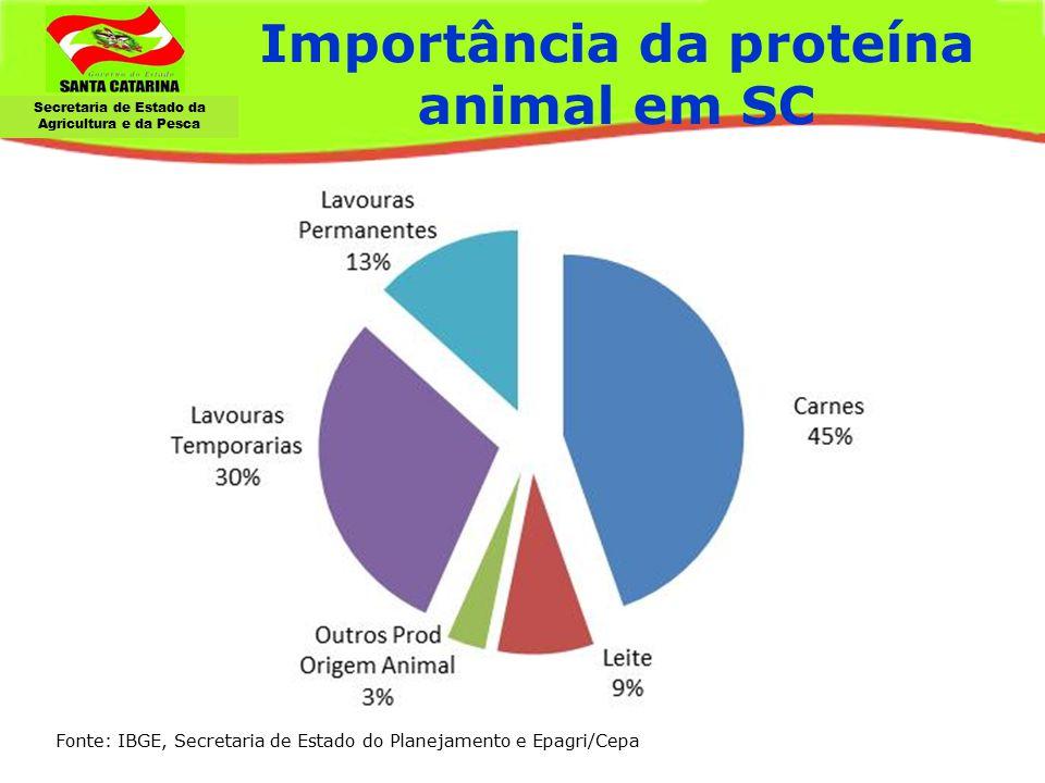 Secretaria de Estado da Agricultura e da Pesca Importância da proteína animal em SC Agropecuária: estrutura fundiária, ranking principais produtos Asp