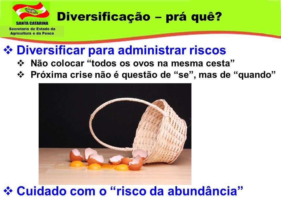 """Secretaria de Estado da Agricultura e da Pesca Diversificação – prá quê?  Diversificar para administrar riscos  Não colocar """"todos os ovos na mesma"""