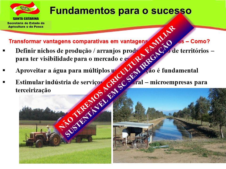 Secretaria de Estado da Agricultura e da Pesca Fundamentos para o sucesso Armazenar água - Irrigação Transformar vantagens comparativas em vantagens c
