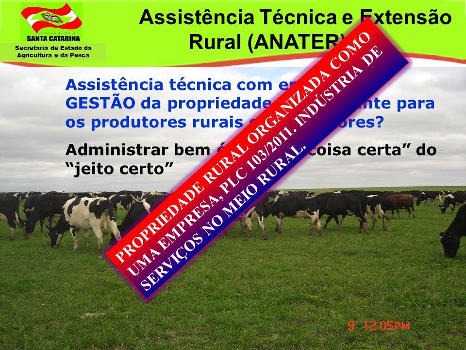 Secretaria de Estado da Agricultura e da Pesca Assistência Técnica e Extensão Rural (ANATER) Assistência técnica com enfoque na GESTÃO da propriedade