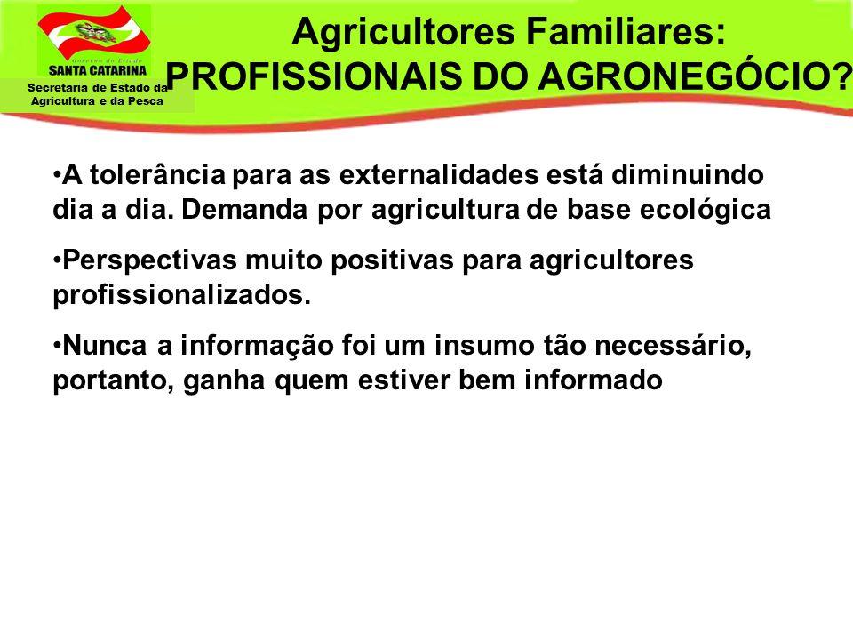 Secretaria de Estado da Agricultura e da Pesca Agricultores Familiares: PROFISSIONAIS DO AGRONEGÓCIO? A tolerância para as externalidades está diminui