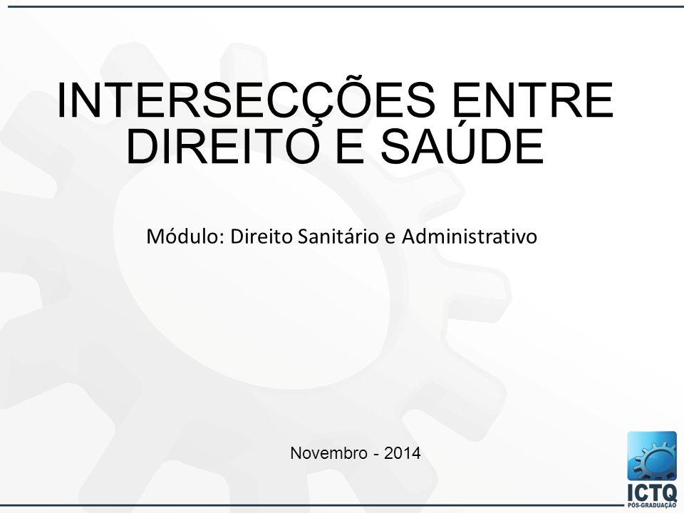 INTERSECÇÕES ENTRE DIREITO E SAÚDE Módulo: Direito Sanitário e Administrativo Novembro - 2014