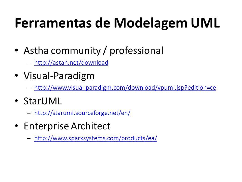 Ferramentas de Modelagem UML Astha community / professional – http://astah.net/download http://astah.net/download Visual-Paradigm – http://www.visual-