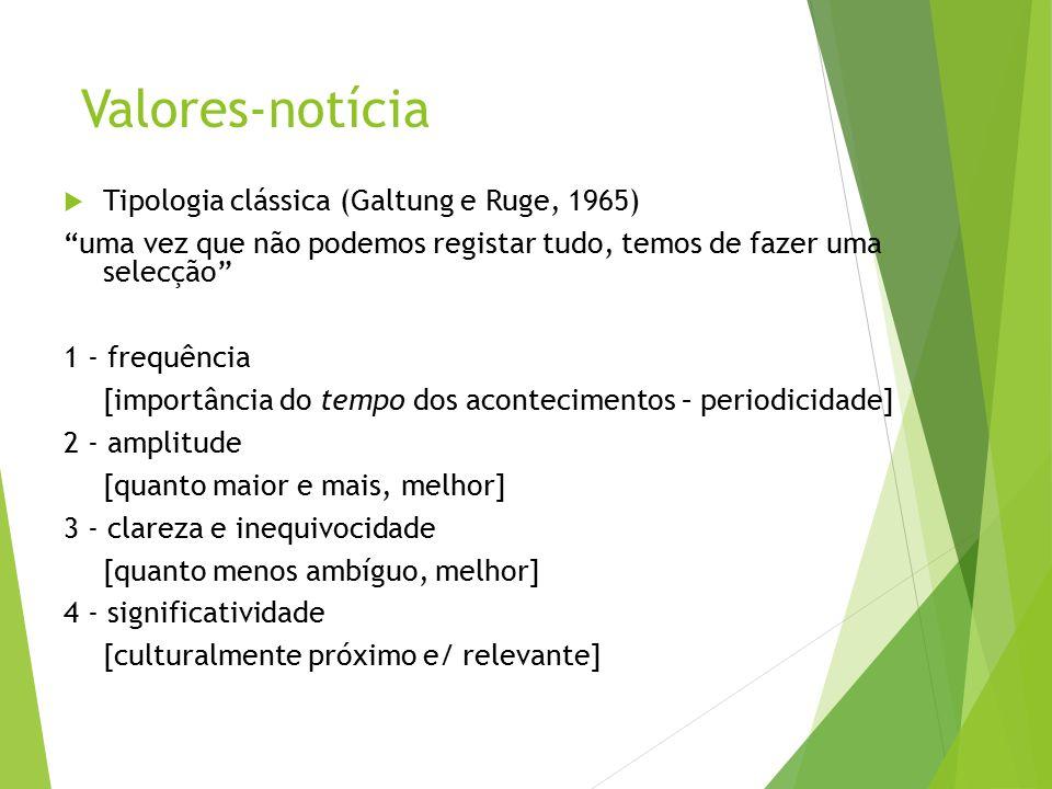"""Valores-notícia  Tipologia clássica (Galtung e Ruge, 1965) """"uma vez que não podemos registar tudo, temos de fazer uma selecção"""" 1 - frequência [impor"""