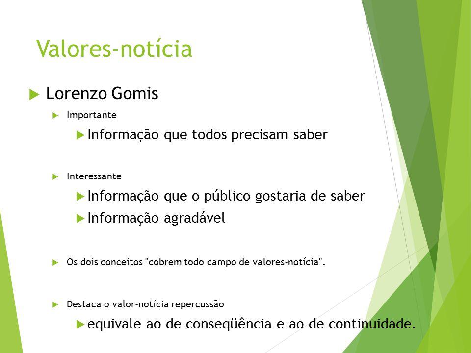 Valores-notícia  Lorenzo Gomis  Importante  Informação que todos precisam saber  Interessante  Informação que o público gostaria de saber  Infor