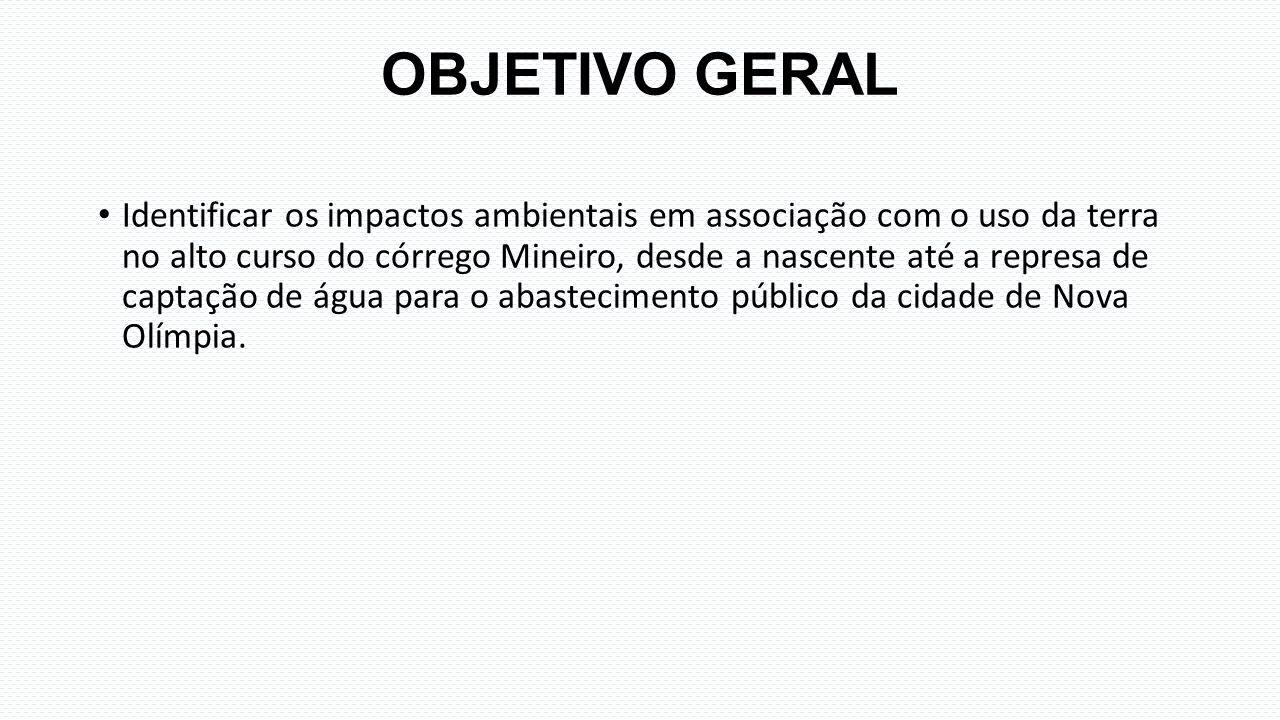 OBJETIVO GERAL Identificar os impactos ambientais em associação com o uso da terra no alto curso do córrego Mineiro, desde a nascente até a represa de