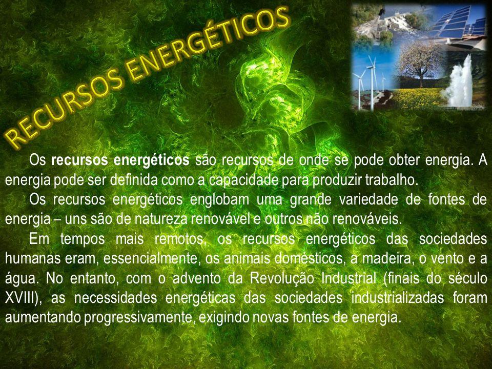 Os recursos energéticos são recursos de onde se pode obter energia.