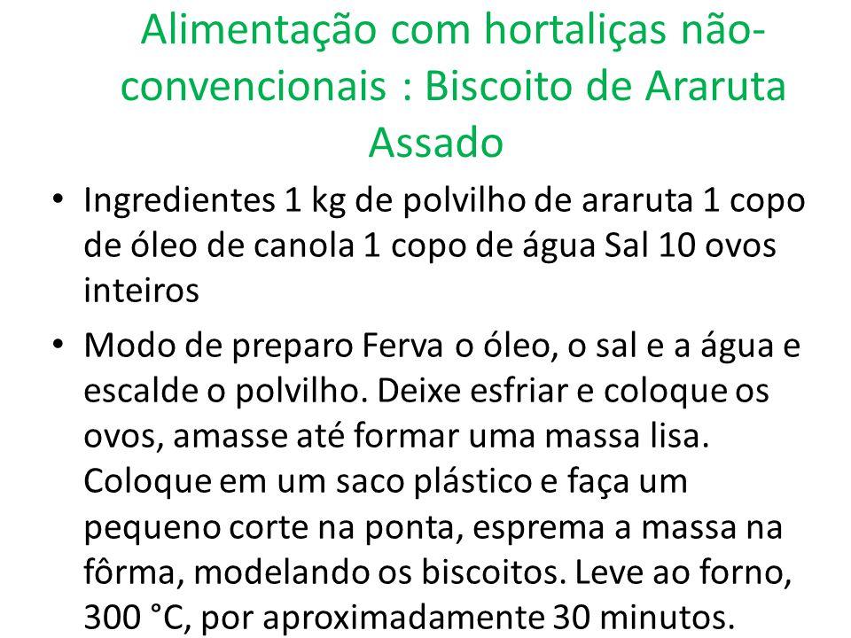 Alimentação com hortaliças não- convencionais : Biscoito de Araruta Assado Ingredientes 1 kg de polvilho de araruta 1 copo de óleo de canola 1 copo de
