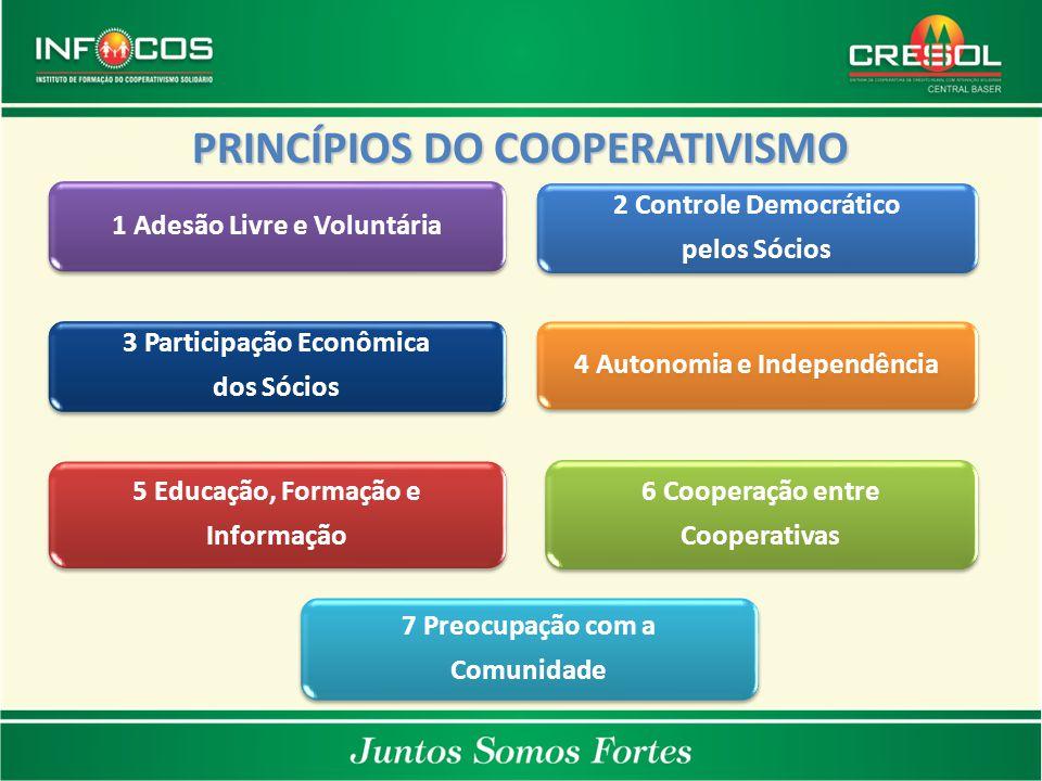 1 Adesão Livre e Voluntária 2 Controle Democrático pelos Sócios 3 Participação Econômica dos Sócios 4 Autonomia e Independência 5 Educação, Formação e