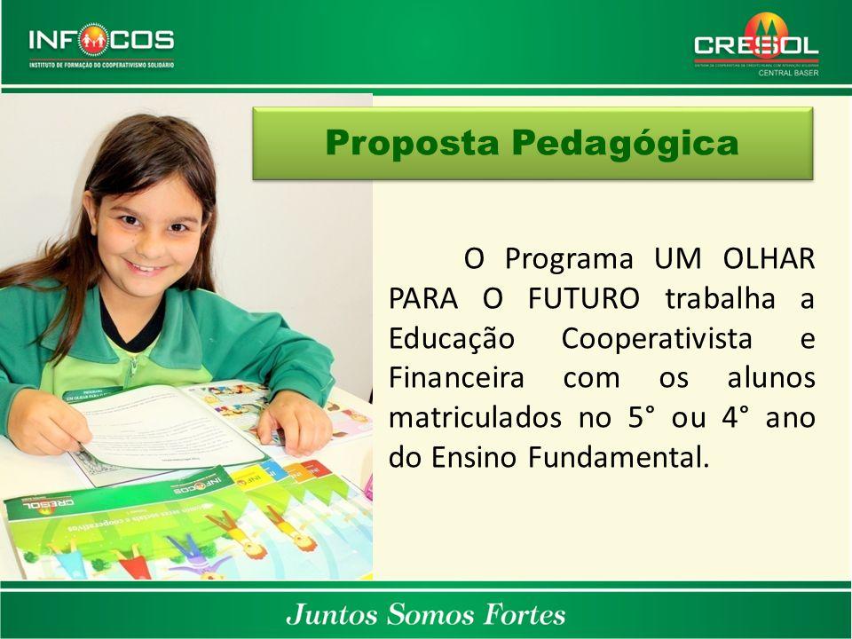 O Programa UM OLHAR PARA O FUTURO trabalha a Educação Cooperativista e Financeira com os alunos matriculados no 5° ou 4° ano do Ensino Fundamental. Pr