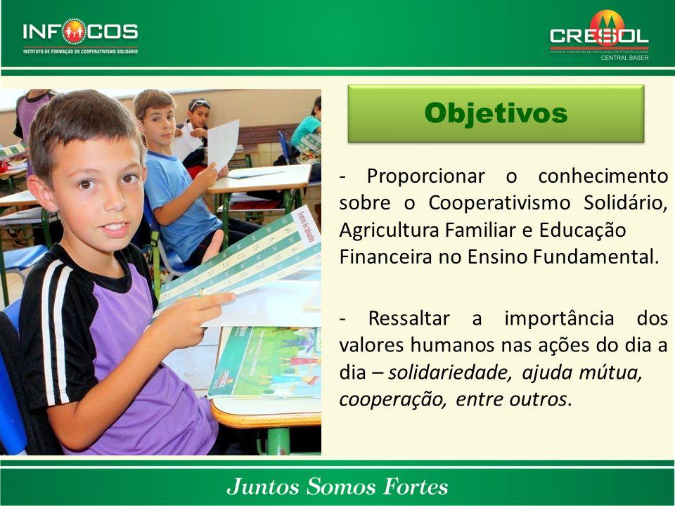 - Proporcionar o conhecimento sobre o Cooperativismo Solidário, Agricultura Familiar e Educação Financeira no Ensino Fundamental. Objetivos - Ressalta