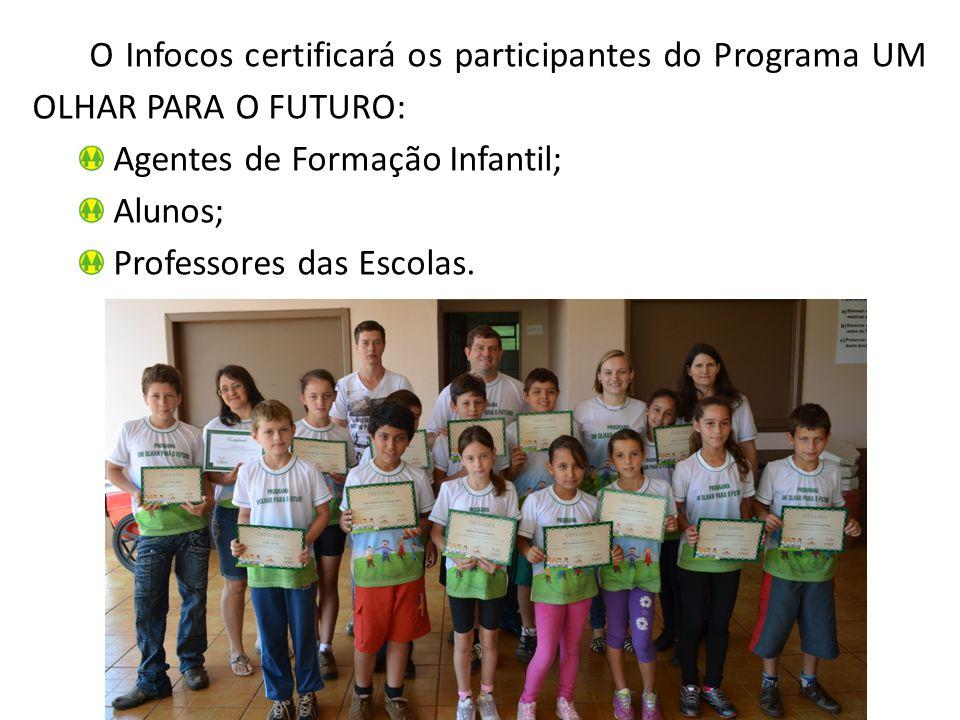 O Infocos certificará os participantes do Programa UM OLHAR PARA O FUTURO: Agentes de Formação Infantil; Alunos; Professores das Escolas.